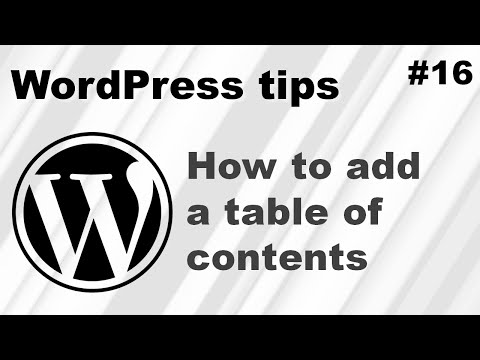 How to add a table of contents to WordPress