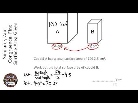 Similarity And Congruence: Find Surface Area Given Linear Scale Factor (Grade 8) - GCSE Maths