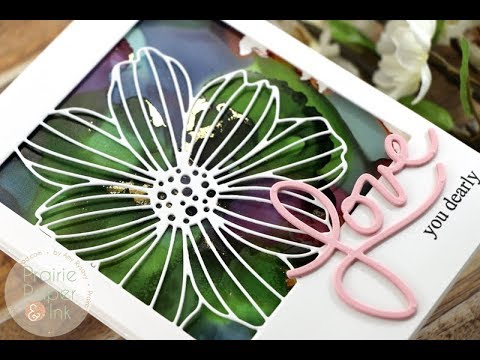 Alcohol Ink and Foil | SSS Cosmo Flower Frame | AmyR 2018 Mother's Day Series #7