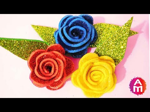 How to make realistic and easy foam sheet rose | DIY glitter foam sheet flowers step by step