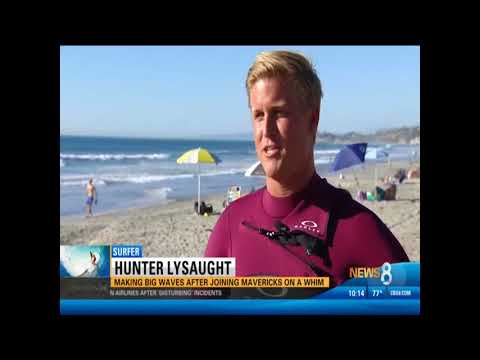 CW (CBS 8) Showcases Hunter Lysaught Surfing 20-Foot Wave on Legendary Mavericks Opening Day