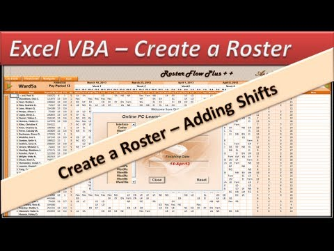 Roster - Excel VBA  - Create a  Roster -  Excel 2010 -- Adding Shifts Part4