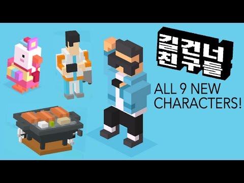 CROSSY ROAD ☆ KOREAN UPDATE  ☆ ALL 9 NEW CHARACTERS + KOREAN BBQ GAMEPLAY