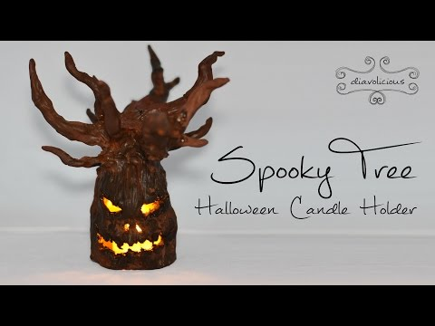Spooky tree candle holder - Halloween polymer clay TUTORIAL