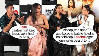 Akshay Kumar gets EMBARASSED By Taapsi Pannu's Behaviour In Front Of Media @Mission Mangalyan Laun