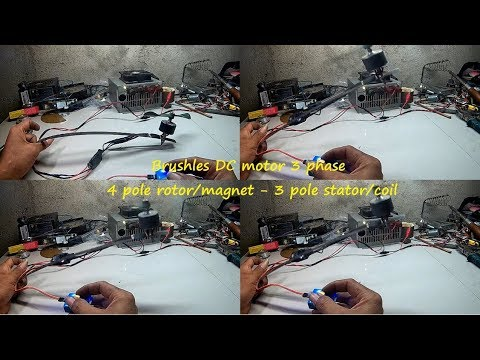 How to make Brushless dc motor 3 phase, 4 pole rotor/magnet and 3 pole stator/coil.