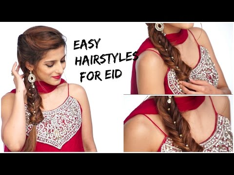 3 Indian Party Hairstyles / EASY Hairstyles for Medium To Long Hair / Eid Hairstyles