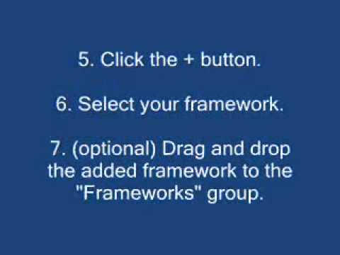 """How to """"add existing frameworks"""" in Xcode 4?"""
