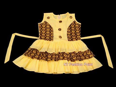 Kids fashion beautiful baby girl summer lovely dress cutting & stitching