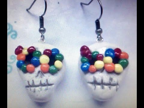 Sugar skull earrings polymer clay tutorial