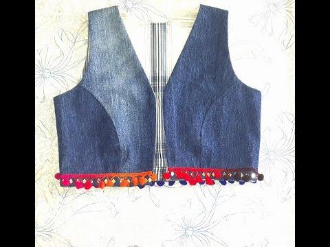 How To Make Denim Jacket/vest/Bolero/Waist Coat From Old Jeans DIY