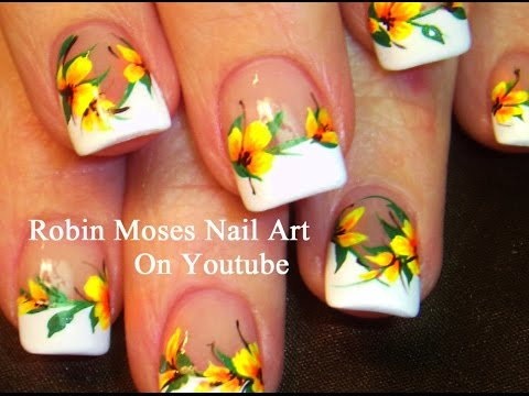 Easy French Mani Nails with Yellow Flowers! DIY Neon Nail Art Design Tutorial