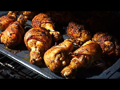 Oven Roasted Bacon Wrapped Chicken Drumsticks | Bacon Flavored Chicken Drumsticks