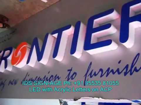 LED SIGNBOARD WITH ACRYLIC LETTERS ON ACP
