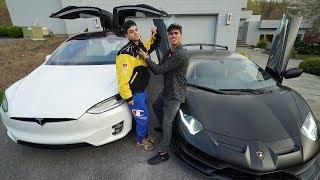 I RACED MY BROTHER FOR $10,000! (Lamborghini Aventador SVJ vs Tesla Model X)