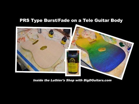 DIY PRS Burst Fade Tutorial on a Tele Guitar Body with Leather Dye