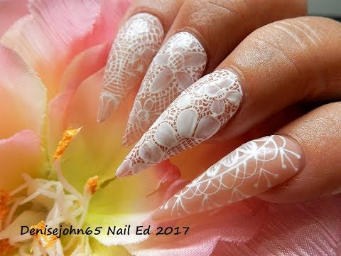 Summery LACE WEDDING NAILS ---- Hand Painted Lace Using Gel Paints -- Gel Nails