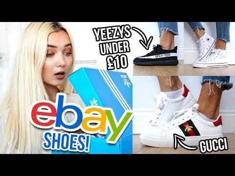 TRYING ON SHOES I BOUGHT ON EBAY UNDER £10!!! 😱 Fake Yeezys!