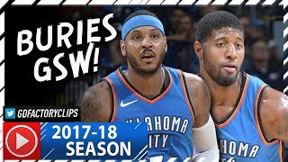Carmelo Anthony 22 Pts & Paul George 20 Pts Full Highlights vs Warriors (2017.11.22) - TOO SICK!