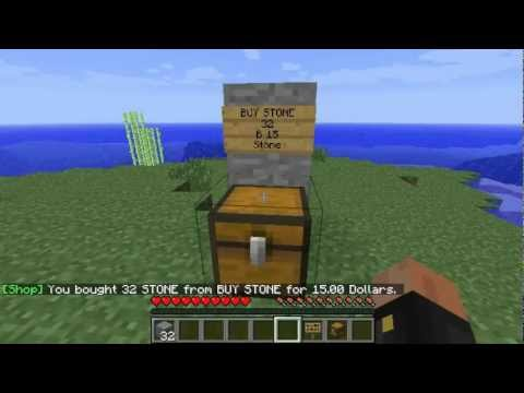 Minecraft Bukkit Plugins - ChestShop ( How to Create Shop) 1.2.5
