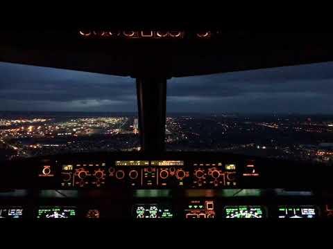 A320 night landing London Heathrow Cockpit View EGLL LHR