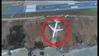 Passenger jet skids off runway at Turkish airport and almost goes into the sea