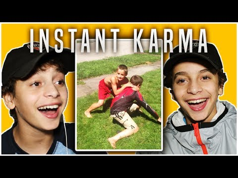 KIDS REACT TO INSTANT KARMA FAILS! (Funny Moments)