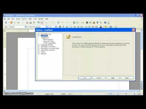 Change Default File Formats in OpenOffice