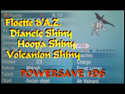Pokemon X - Floette d'A.Z. / Diancie / Hoopa / Volcanion SHINY (Powersave 3DS)