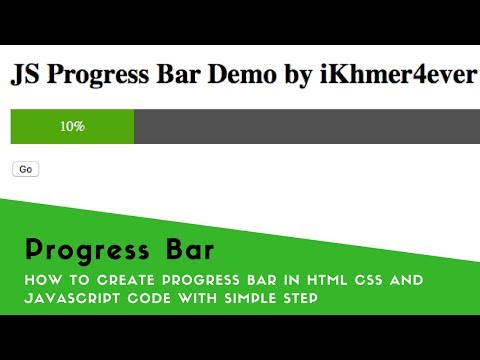 How to create progress bar in HTML CSS and Javascript with easy step  iKhmer4ever