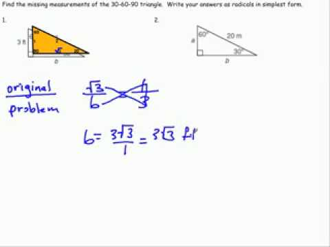 Special Right Triangles 30 60 90 Part 1