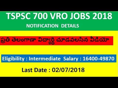 TSPSC VRO 700 Jobs notification details,syllabus,age limit,last date