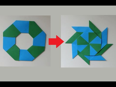 How To Make A Transforming 8-Pointed Ninja Star!. (Origami)