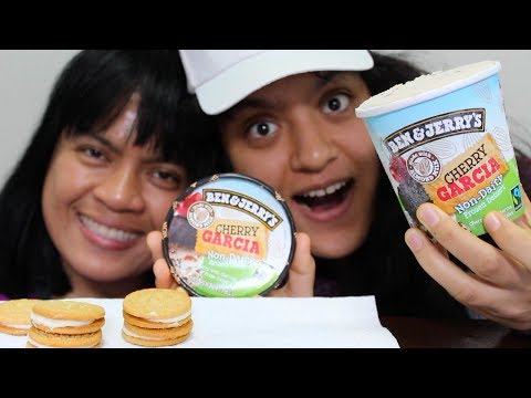 Eating Cherry Garcia Ben and Jerry's Ice Cream MUKBANG
