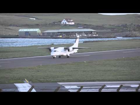 Dornier 328-110 of Suckling Airways landing at Sumburgh Airport, Shetland