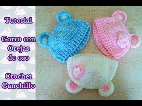 DIY Como hacer un gorro crochet ganchillo bebe con orejas de oso ... e5bf5c587a6