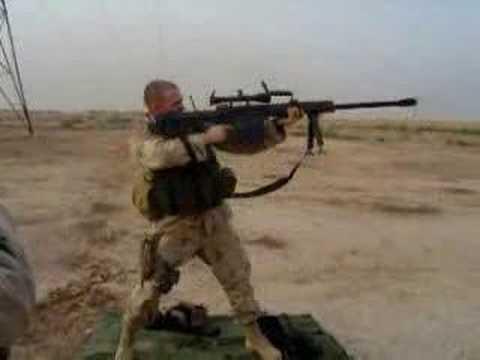 Shoulder firing the M107 Barrett