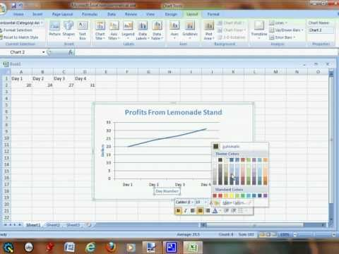 Creating a line graph in Excel using Windows 7