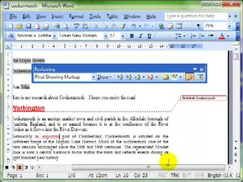 AM 3.4.1.1- 2 Track and review changes in Microsoft Word 2003