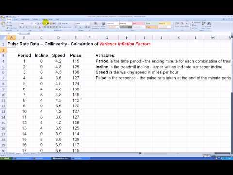 Calculating Variance Inflation Factors in Excel 2007
