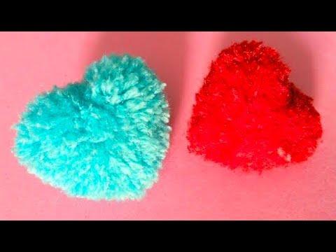 Heart shape pom pom !! DIY  Easy method to make Pom Pom using cardboard - cool and creative