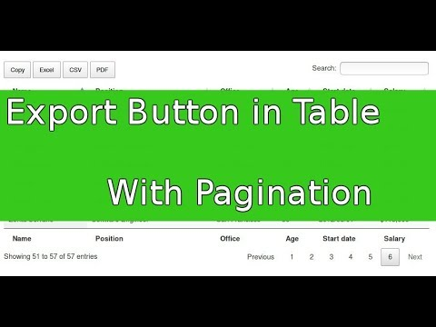 HTML Table with Pagination and Export Button