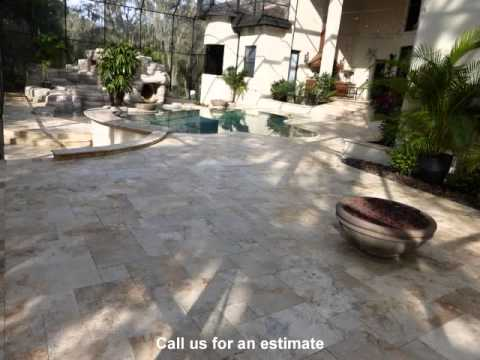 Travertine paver pool deck sealing Tampa FL