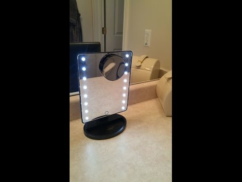 AZALCO 16LEDs Square Desktop Cosmetic Vanity Mirror with Removable 10x Magnifying Mirror