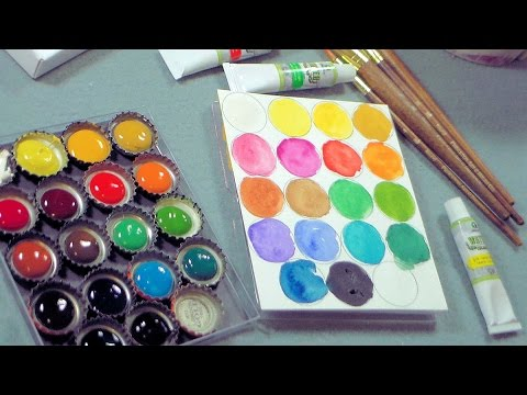 DIY bottlecap palette and cheap watercolor supplies