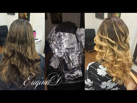 Dark brown to blonde ombre balayage color melt