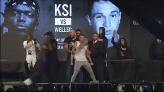 FULL KSI VS JOE WELLER FACE OFF(JOE WELLER PUSHES KSI)