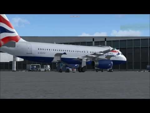 BA A320 British Airways Flight 1370 from Bristol to Cardiff. Taxiing and Parking at Cardiff.