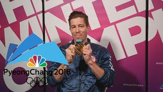Shaun White reacts to fans watching him win halfpipe gold