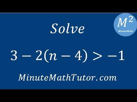 Solve 3-2(n-4)›-1